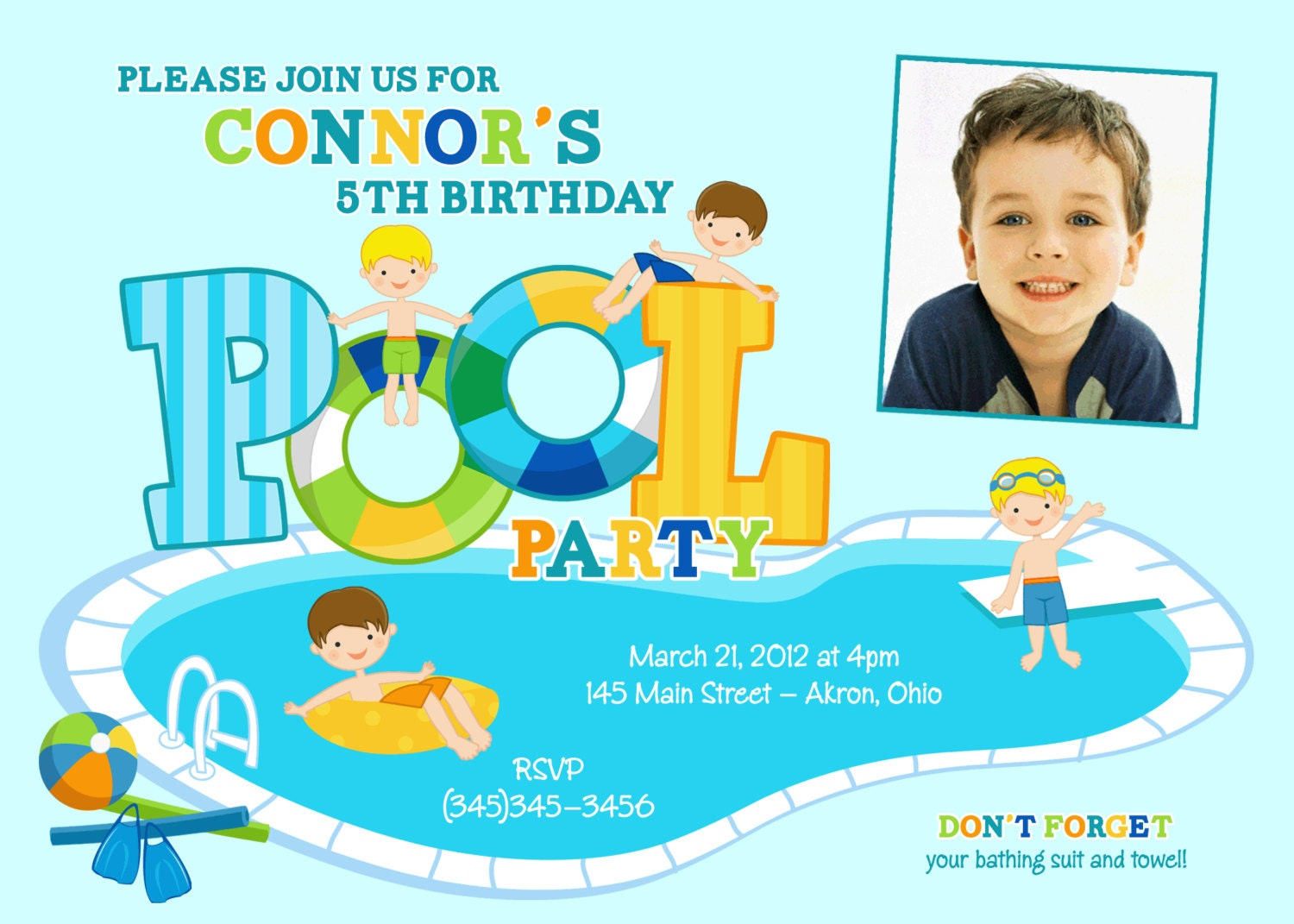 boys pool party invitations - Son.roundrobin.co