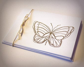 Butterfly Blank Cards Folded Set of 5 hand stamped teacher gift with envelopes insect nature stocking stuffer small gift