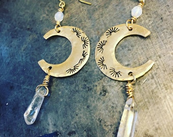 Brass crescent moon and quartz point earrings
