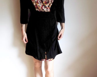 Vintage 40s/50s Short Draped Little Black Dress with Peekaboo Floral- Rayon- Mini Dress