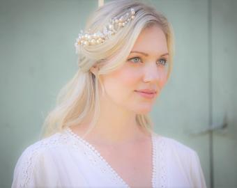 Gold Pearl Bridal headband,bridal hair accessory,wedding hair accessory, Bridal Hair accessory,Wedding headpiece, Bridal Headpiece#101