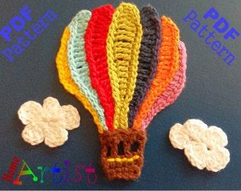 Hot air Balloon crochet Applique Pattern