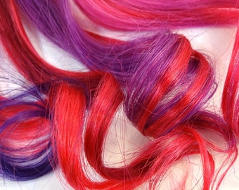 """Set of FOUR 18"""" Clip-In Human Hair Streaks, Very Berry - fuchsia purple pink magenta festival hair extensions"""