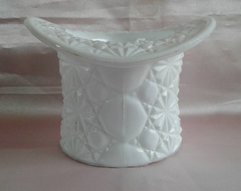 Vintage Indiana Milk Glass Large Top Hat with Daisy Button Pattern
