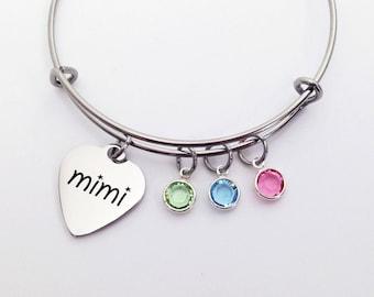 Mimi Bracelet, Mimi Gift, Mimi Jewelry, Mothers Day Gift for Mimi, Gifts for Mimi, Mimi, Grandma Gift, Mothers Day Gift, Birthstone Bracelet