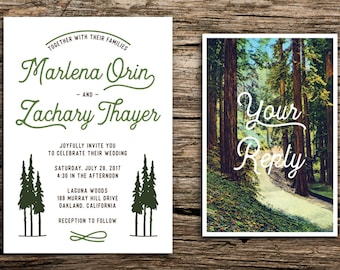 Retro Redwoods Wedding Invitation and Postcard RSVP // Retro Invitation Forest Wedding Postcard San Francisco Wedding Big Sur Redwood Trees