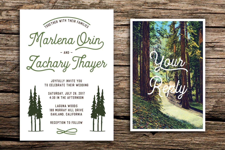 Retro redwoods wedding invitation and postcard rsvp retro zoom monicamarmolfo Gallery