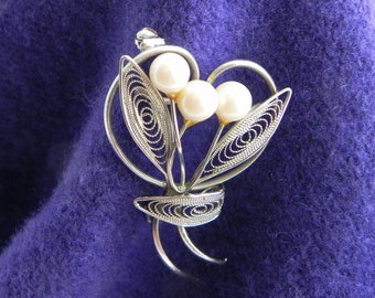 Silver Tone Faux Pearl Wire Work Brooch, Delicate Floral Spray Brooch, Faux Pearl Bouquet Pin
