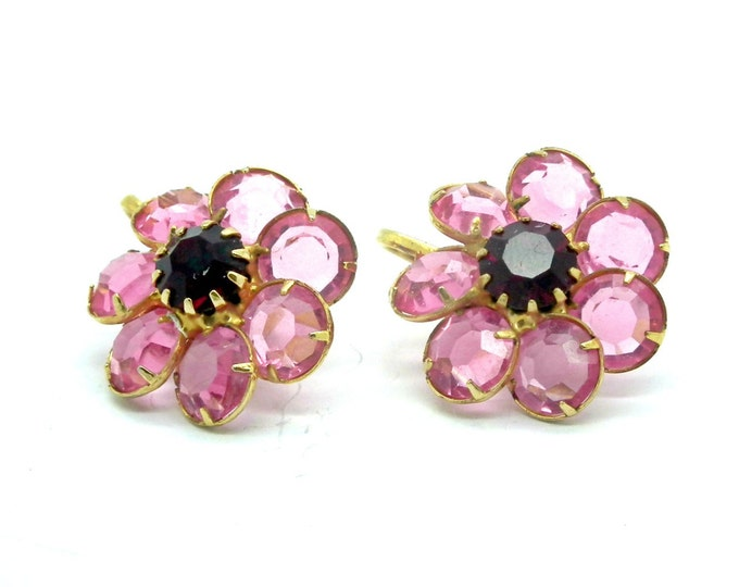 Cute CLIP ON EARRINGS for women , floral with a nice pink color