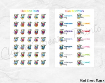 CLEANING BUCKETS Planner Stickers (2 options)