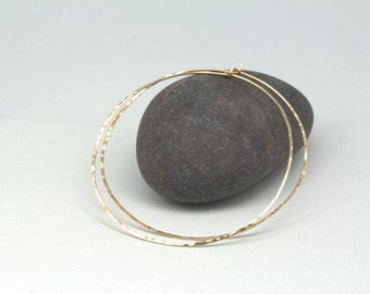 Thin hammered gold hoop earrings, large 14k gold filled hoops