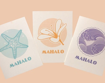 Mahalo (thank you) cards w/ tropical themes