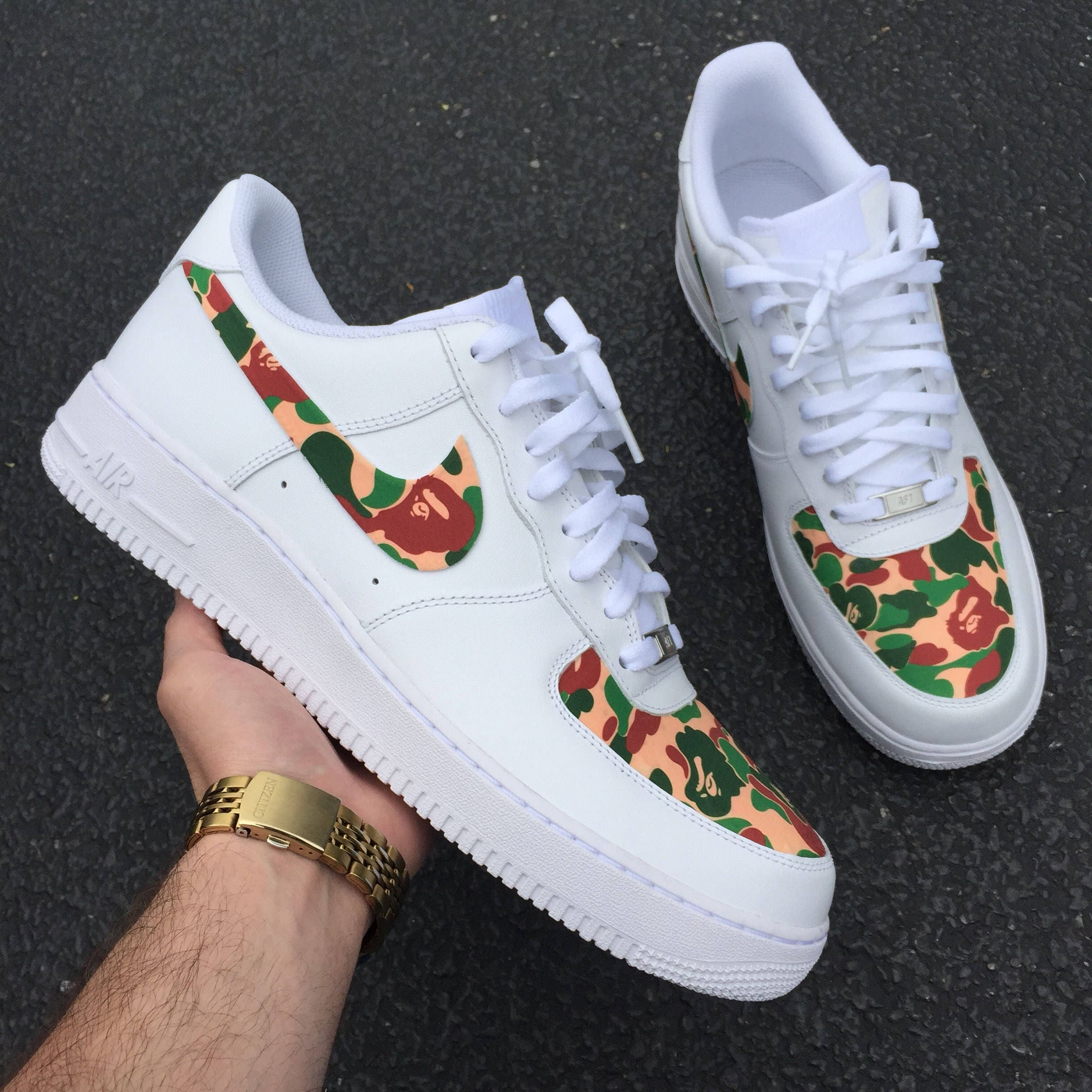 794753d3b53165 Bape Nike Air Force Green Red White