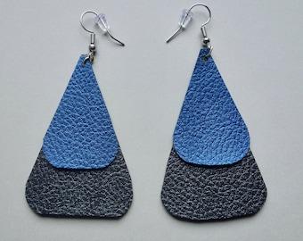Faux Leather Triangle Earrings