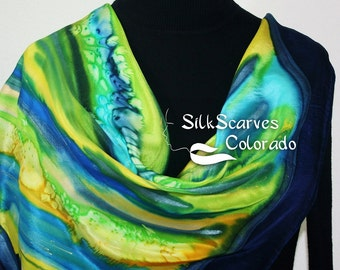 Classic Square Silk Scarf Hand Painted Silk Shawl Blue Yellow Green Handmade Scarf AFTER THE RAIN. Silk Scarves Colorado. Size XLarge 35x35.