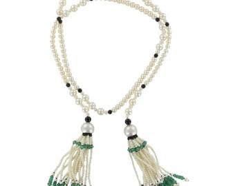 Sautoir perles émeraudes onyx  Art déco