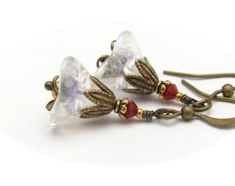 Flower Earrings, Red Crystal Earrings, Red Earrings, Petite Flowers, Antiqued Brass, Fairy Woodland, Hawaii Beads