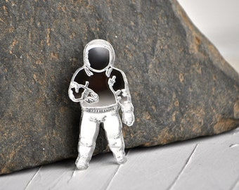 Spaceman brooch - astronaut acrylic brooch, mirror silver gold cosmonaut brooch, mirror spaceman brooch, acrylic brooch pin - made to order
