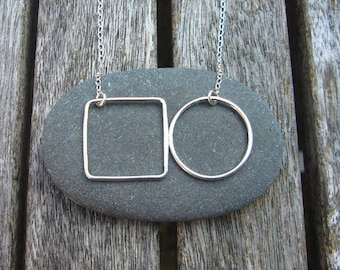 Silver circle and square wire necklace