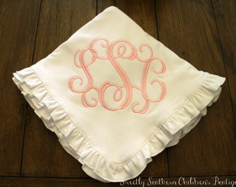 baby girl monogram ruffle blanket- custom cotton baby girl blanket- personalized newborn baby girl gift- personalized baby shower gift