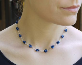Mobius Necklace (Blue and Silver)