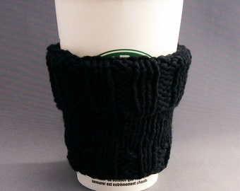 Coffee Cup Cozy - Handknit - Black Cotton Perfect for Him