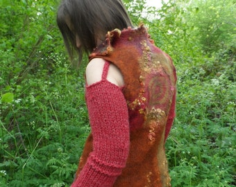 Felted Wool Vest / Jacket - with Removable Knitted Sleeves - SunBurst in Rich Autumn Shades
