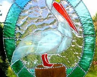 """Vitrail en verre Suncatcher, blanc Pélican, décor nautique, vitrail Sun Catcher, décor de maison de plage, Tropical Home Decor, 10 """"x 12"""", 9535"""