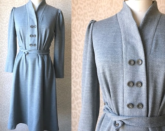 80's midi dress size L/XL, light blue/grey knit dress, vintage fashion, 80's fashion, tailor made dress, womens elegant classy dress