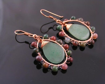 Wire Wrapped Earrings, Green Aventurine Earrings and Wire Wrapped Frame Earrings, Agate Earrings, Boho Jewelry, Handmade Earrings, E2039