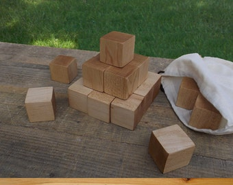 1.5 inch Maple Wood Blocks, All Natural Baby blocks, Baby Shower Activity, 1.5 Inch Square Wooden Building Block Set