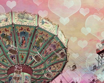 Pastel Carnival Print, Gift for Baby Girl Nursery Decor, Pink, Mint, Yellow, Circus Swings, Girls Bedroom Wall Art