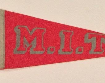 Vintage Circa 1940's M.I.T. Massachusetts Institute of Technology Mini Pennant - Antique College Memorabilia