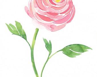ORIGINAL Ranunculus Watercolor Painting Pink Coral Spring Floral Art