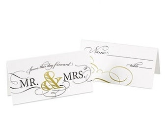 Mr. and Mrs, Wedding Place Cards (Pack of 25)