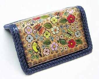 Leather Card Case/Birds, Butterflies, and Blooms Card Case