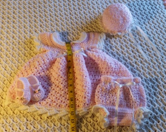 Hand Made Crochet Baby Blanket Gift Set Pink and White 0-3 months