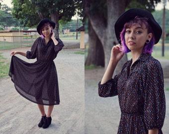 Vintage, 1970's, Sheer, Polka Dot, Button up, Dress
