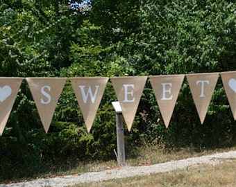 Sweet Love  ...   Banner   ..  Burlap  ..  Wedding  ..  Reception