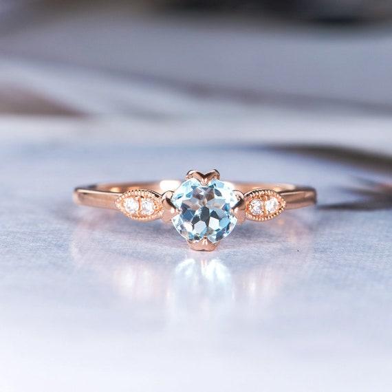 Aquamarine Engagement Ring Rose Gold Round Cut Art Deco