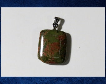 Unakite - Small 15x20mm flat rectangle pendant with natural gemstone. #GPEN-419