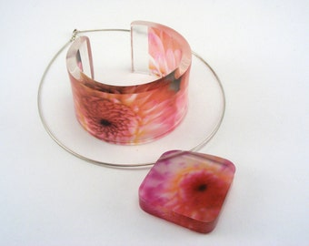 Pink Dahlia Flower Pendant and Bangle, Jewellery Gift Set
