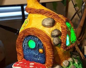 OOAK Sculpted Fairy House Light