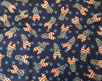 Patriotic Red White Blue Ribbons Cotton Quilt Weight Fabric 1 Yard X1215