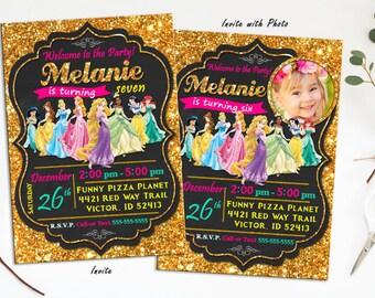 Disney Princess Birthday Invitation, Princess birthday invitation, Princess invitation, Princess Printables, DIY, Princess Invite, gold pink