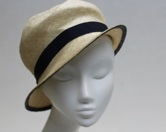 The Carmen Hat - 1920's Ivory Hat - Cloche w/ Navy Petersham Ribbon Detail - Summer Millinery