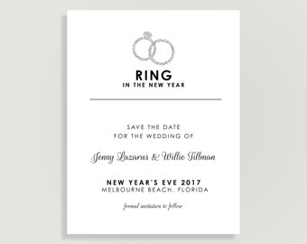 New Years Eve Wedding Save the Dates - Magnets Available - Personalized Printable File or Print Pkg Available - Ring in the NY #00063-STDA2