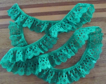 Green Lace Trim Embellishments.Craft.  Card Making, Junk Journals. Scrapbook Supply, Sewing. Smash Book. Lace Trim  Shabby Chic Trim