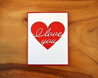 I Love You With My Whole Heart Cut Out Card