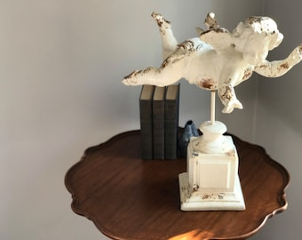 Antique Plaster Cherub on Stand - LOCAL PICKUP/delivery ONLY